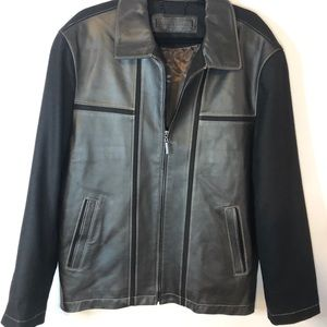 Jhane Barnes wool leather coat men 44 brown